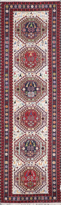 "2'11""x8'2"" Persian Kilim Ivory Wool Hand-Knotted Runner"