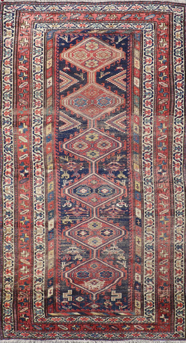 "4'2""x8' Persian Kilim Blue Wool Hand-Knotted Rug"