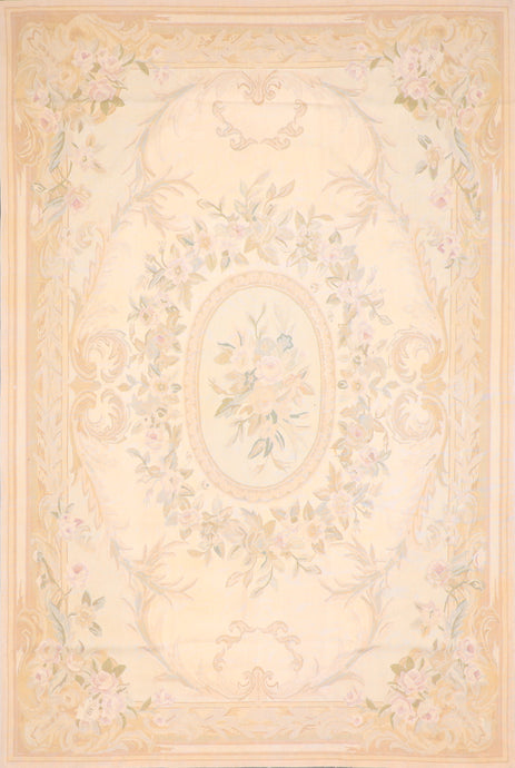 "6'1""x9' Aubusson Tan Wool Hand-Knotted Rug"