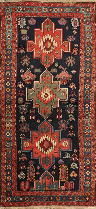 "3'11""x8'10"" Tribal Persian Antique Black Wool Hand-Knotted Rug"