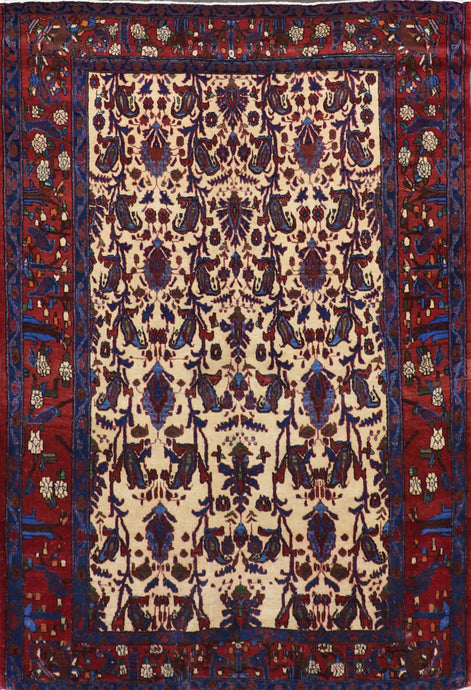 "4'9""x6'8"" Tribal Ivory Persian Wool Hand-Knotted Rug"