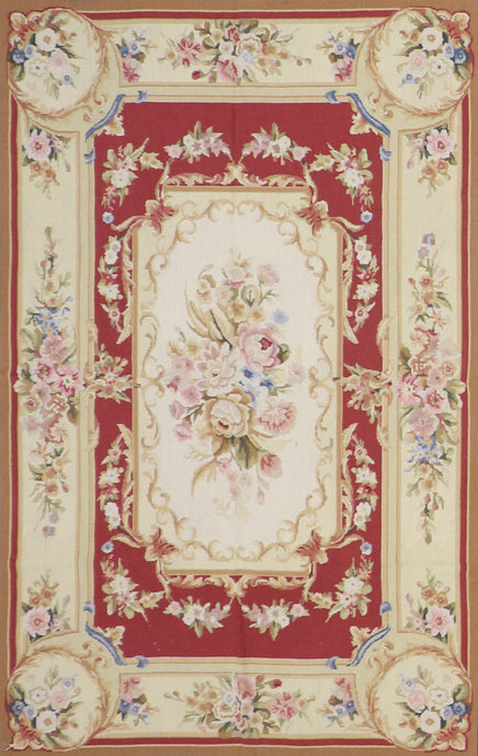 "3'11""x5'11"" Aubusson Needlepoint Red Wool Flatweave Rug"