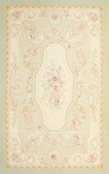 "5'1""x8'2"" Needlepoint Ivory Wool Hand-Knotted Rug"