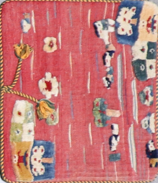 "1'5""x1'8"" Persian Kilim Pink Wool Hand-Knotted Rug"
