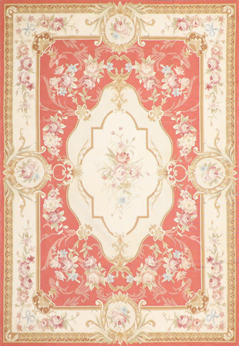 "5'1""x7'5"" Aubusson Ivory Wool Hand-Knotted Rug"