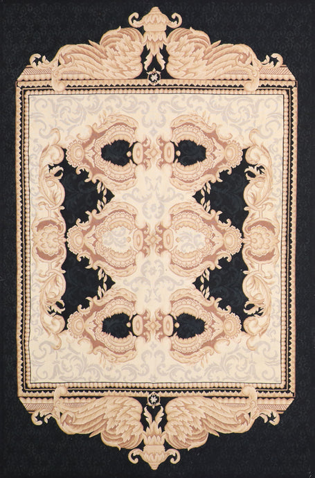 "5'8""x9' Aubusson Tan Wool Hand-Knotted Rug"