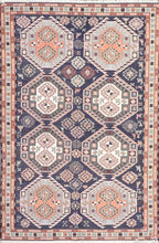 "Load image into Gallery viewer, 4'2""x6'4""Persian Kilim Navy Wool Hand-Knotted Rug - Direct Rug Import 