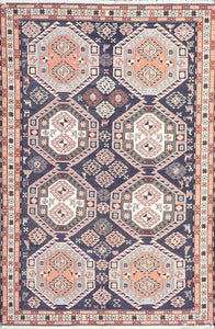 "4'2""x6'4""Persian Kilim Navy Wool Hand-Knotted Rug - Direct Rug Import 