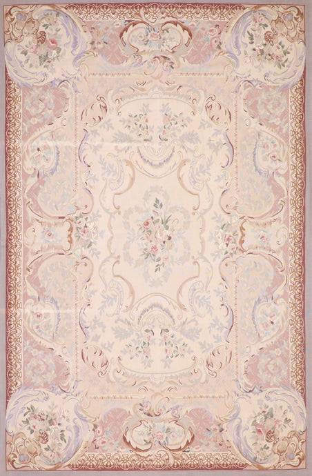 "5'11""x9'3"" Aubusson Tan Wool Hand-Knotted Rug"