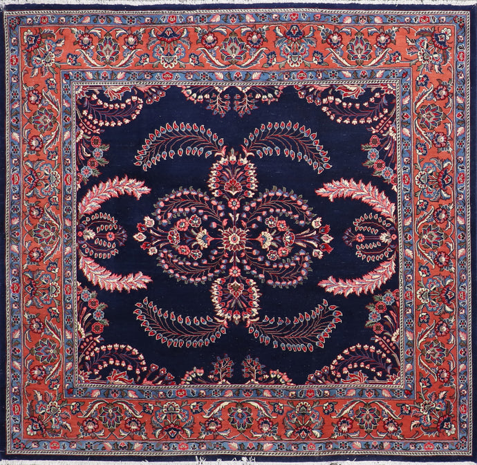 "6'10""x7' Traditional Navy Sarouk Wool Hand-Knotted Rug"