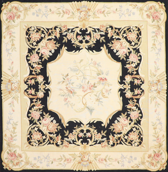 "5'11""x6'1"" Aubusson Black Wool Hand-Knotted Rug"