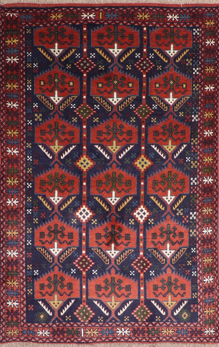 "3'11""x6'2"" Persian Traditional Navy Wool Hand-Knotted Rug"
