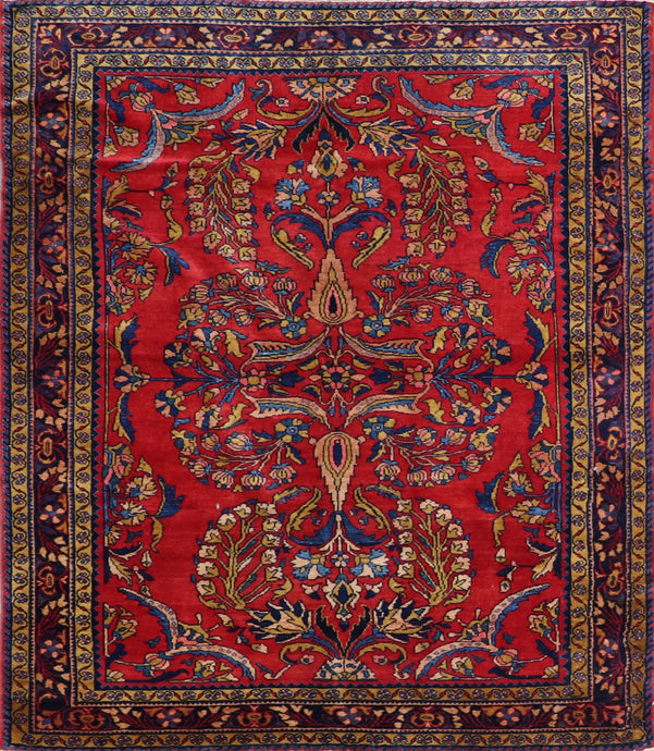 "5'5""x6'2"" Persian Kilim Red Wool Hand-Knotted Rug"