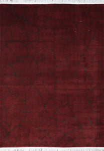 "5'6""x8' Contemporary Burgundy Wool Hand-Knotted Rug"