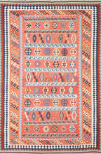 "Load image into Gallery viewer, 5'10""x8'7"" Persian Kilim Red Wool Hand-Knotted Rug"