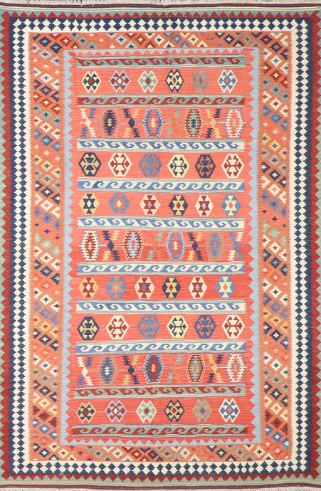 "5'10""x8'7"" Persian Kilim Red Wool Hand-Knotted Rug"