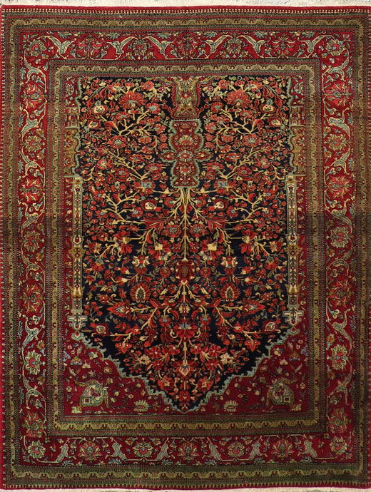 "4'7""x6' Traditional Persian Antique Black Wool Hand-Knotted Rug"