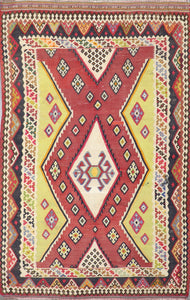 "4'11""x8' Persian Kilim Red Wool Hand-Knotted Rug"