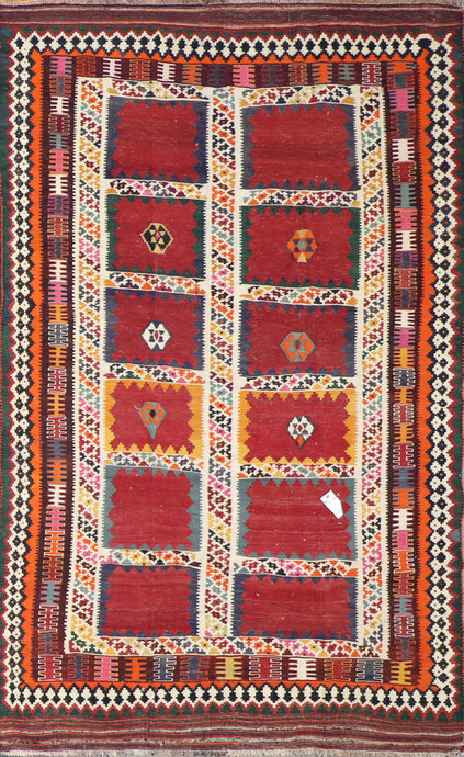 "5'5""x8' Persian Kilim Red Wool Hand-Knotted Rug"
