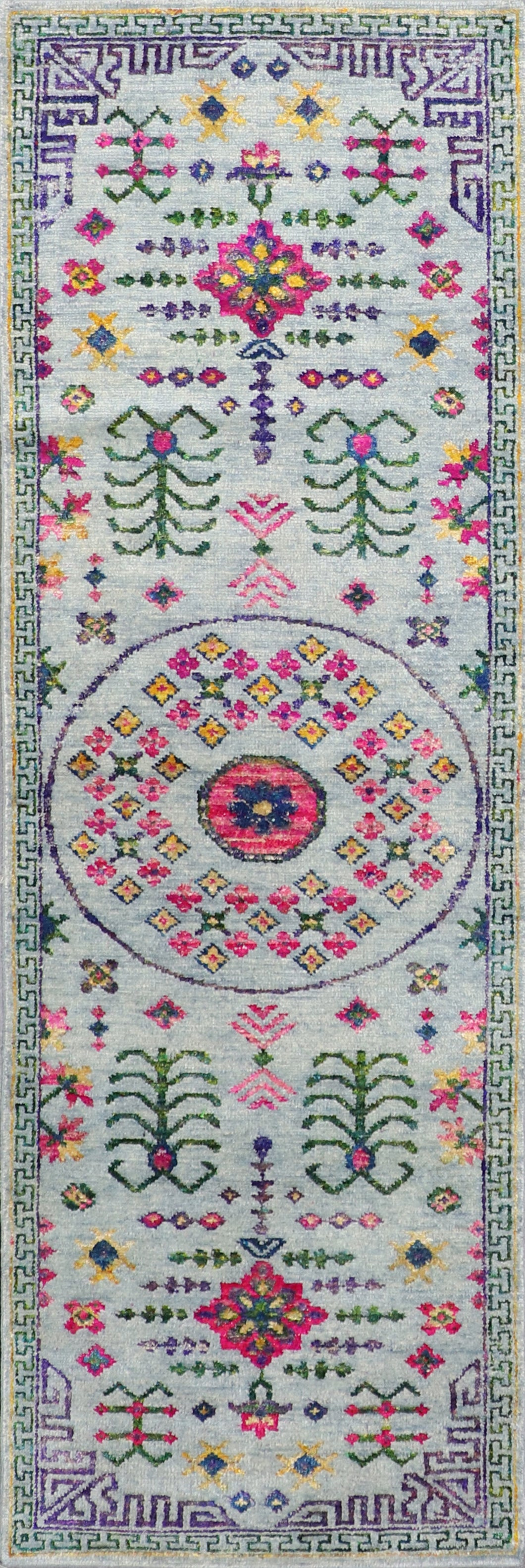 "3'x9'9"" Decorative Gay,Green & Pink Wool & Silk Hand-Knotted Rug - Direct Rug Import 