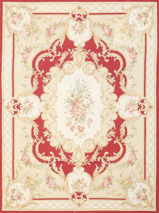 "5'x6'8"" Aubusson Gold Wool Hand-Knotted Rug"