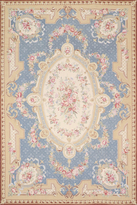 6'x9' Needlepoint Blue Wool Hand-Knotted Rug