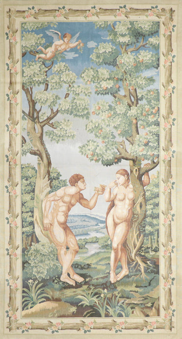 "4'6""x8'8"" Adam & Eve Wool Hand-Knotted Tapestry"