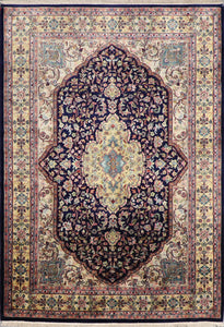 "5'5""x9'9"" Traditional Navy Tabriz Wool Hand-Knotted Rug - Direct Rug Import 