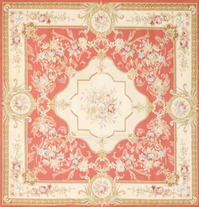 "6'5""x6'6"" Aubusson Ivory Wool Hand-Knotted Rug"