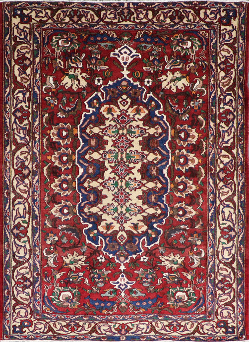 "4'11""x7'5"" Persian Traditional Red Wool Hand-Knotted Rug"