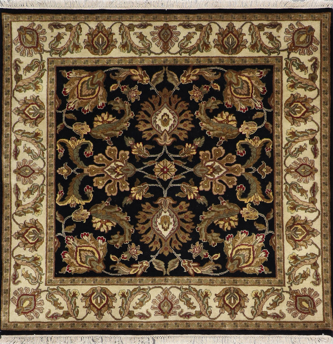 "4'6""x4'9"" Traditional Tan Wool Hand-Knotted Rug"