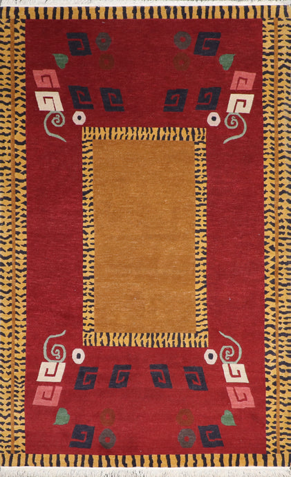 "5'1""x8'1"" Contemporary Red Tibetan Wool Hand-Knotted Rug"