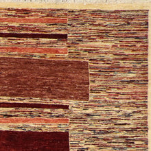 "Load image into Gallery viewer, 5'5""x8'4"" Contemporary Ivory & Red Wool Hand-Knotted Rug"