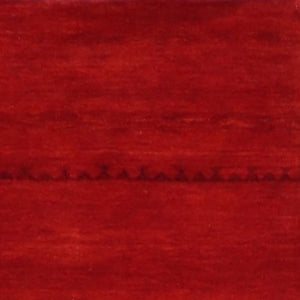 "2'7""x9'9"" Contemporary Red&Burgundy Wool Hand-Knotted Rug - Direct Rug Import 