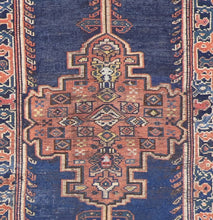 "Load image into Gallery viewer, 3'4""x8'7"" Antique Traditional Navy Tribal Wool Hand-Knotted Rug - Direct Rug Import 