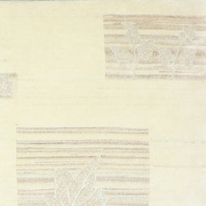 "5'3""x8'9"" Transitional Tibetan Ivory Wool & Silk Hand-Knotted Rug"