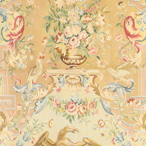 "4'5""x5'5"" Aubusson Gold Wool Hand-Knotted Tapestry"