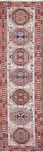 "2'6""x9'6"" Persian Kilim Ivory Wool Hand-Knotted Runner"