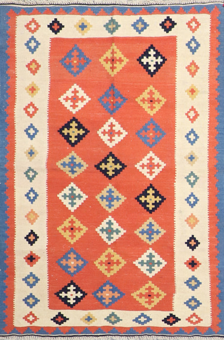"3'3""x5' Persian Kilim Orange Wool Hand-Knotted Rug"