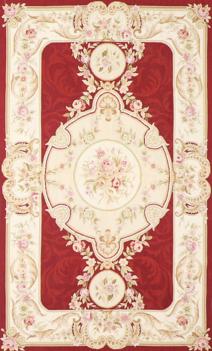 "5'x8'2"" Needlepoint Red Wool Hand-Knotted Rug"