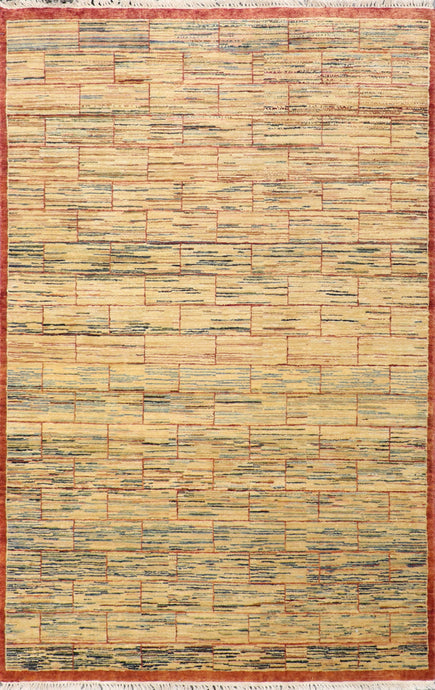 "4'11""x7'8"" Decorative Tan Wool Hand-Knotted Rug - Direct Rug Import 