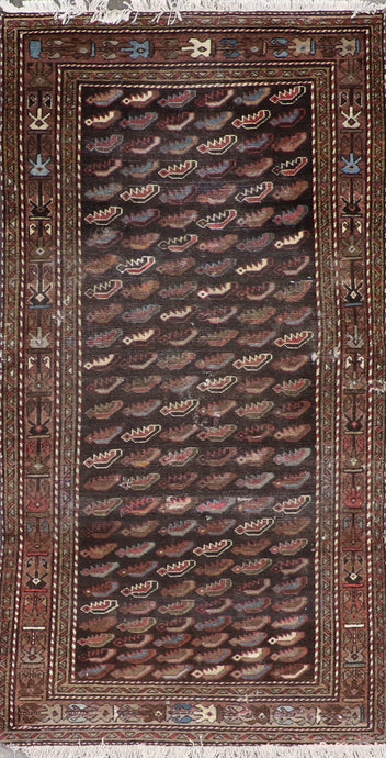 "3'4""x6'5"" Persian Kilim Brown Wool Hand-Knotted Rug"