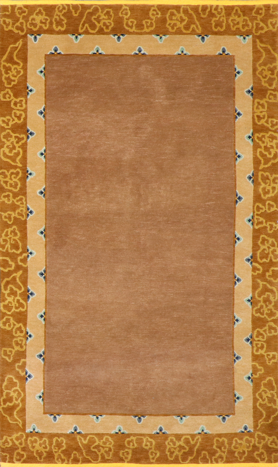 "5'1""x8'4"" Decorative Brown Wool Hand-Knotted Rug"