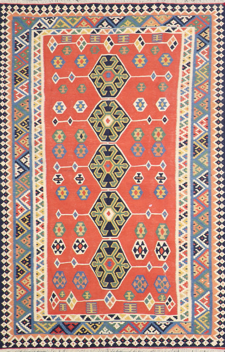 "5'6""x8'2"" Persian Kilim Orange Wool Hand-Knotted Rug"