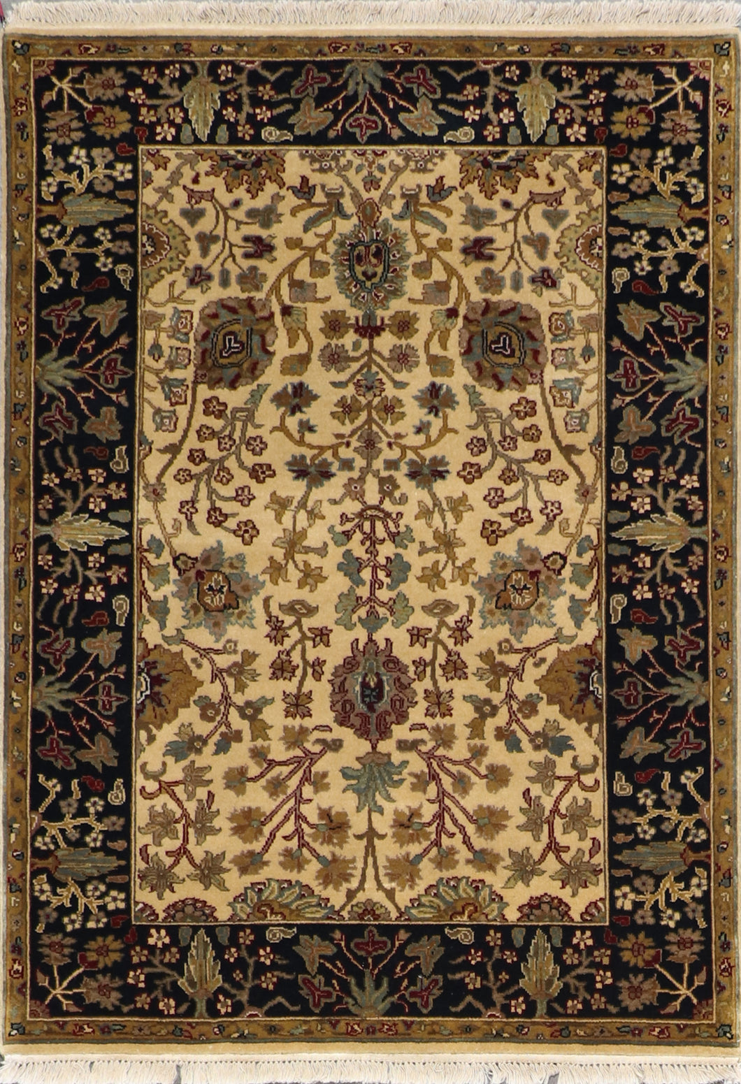 "4'2""x6' Decorative Tan Wool Hand-Knotted Rug - Direct Rug Import 
