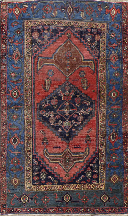 "3'8""x6'1"" Decorative Red & Navy Wool Hand-Knotted Rug - Direct Rug Import 