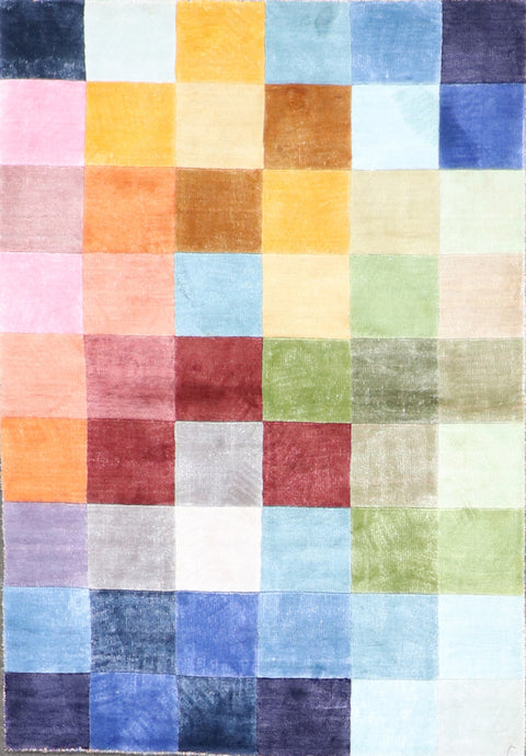 "3'2""x4'9"" Contemporary Multi-Colored Silk Hand-Knotted Rug - Direct Rug Import 