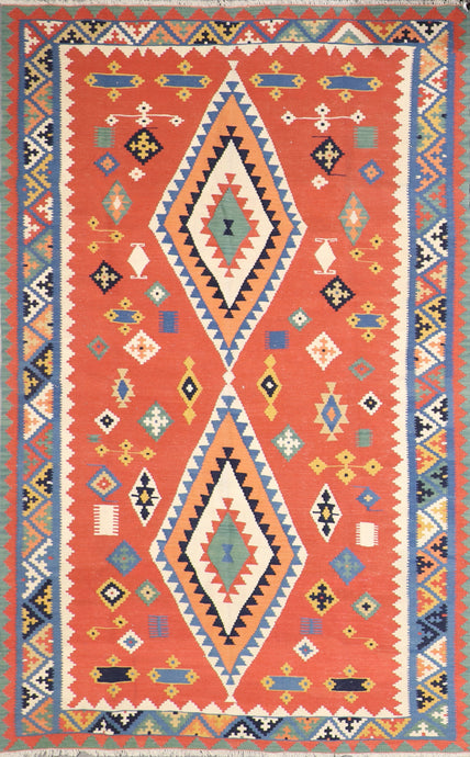 "5'7""x8'9"" Persian Kilim Orange Wool Hand-Knotted Rug"