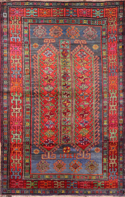 "5'3""x8'3"" Persian Kilim Red Wool Hand-Knotted Rug"