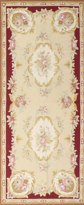 "2'6""x5'11"" Needlepoint Ivory Wool Hand-Knotted"